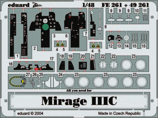 Eduard Accessories FE396 Mirage IIIC Weekend für Eduard Bausatz in 1:48