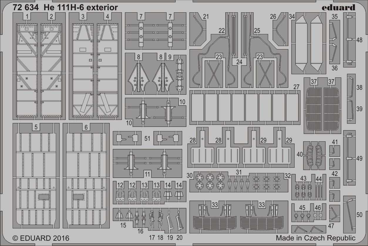 Eduard Accessories 72634 - 1:72 He 111H-6 Exterior For Airfix - Ätzsatz - Neu