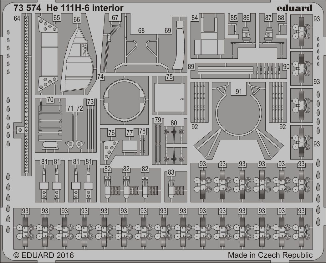 Eduard Accessories 73574 - 1:72 He 111H-6 Interior For Airfix - Ätzsatz - Neu