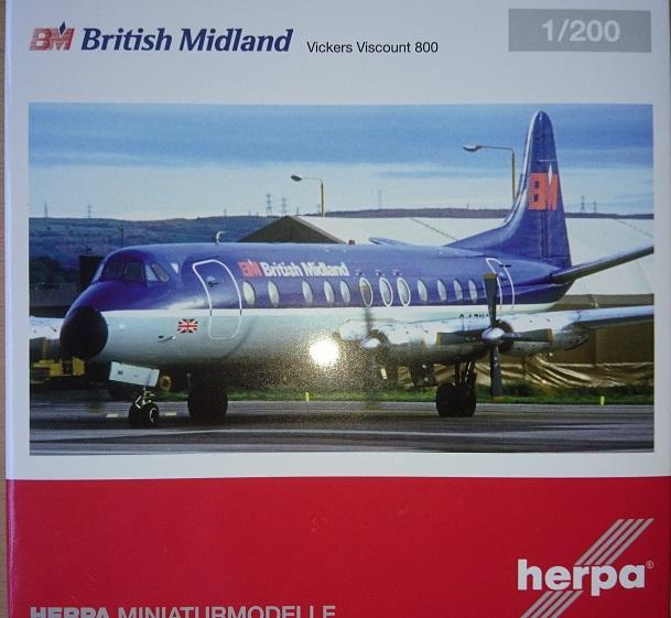 Herpa 559591-1//200 British Midlands Vickers Viscount 800 New