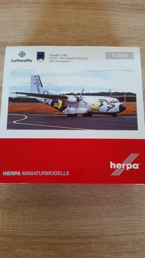 Herpa 559201 - 1 200 transall c-160 - LTG 61 - 50th Anniversary-Neuf