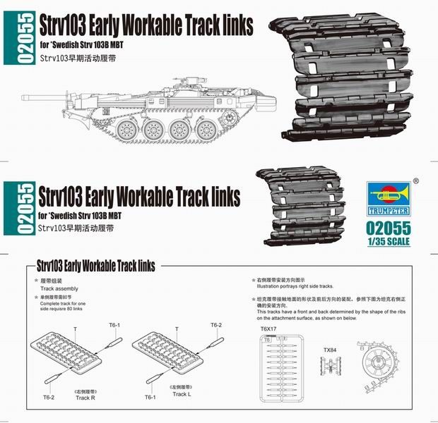 Trumpeter 2055 Strv103 early Workable Track links in 1:35